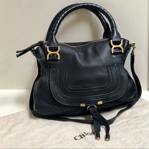 Chloe Marcie Satchel Handbag Black Leather Medium